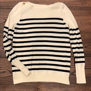 J. Crew Sweaters - J Crew | Long sleeve striped sweater button detail